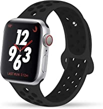 AOSOK Sport Band Compatible with Watch Band 38MM 42MM 40MM 44MM, Soft Silicone Sport Band Replacement Wrist Strap Compatible for iWatch Apple Watch Series 4/3 2/1 (Black, 38mm/40mm M/L)