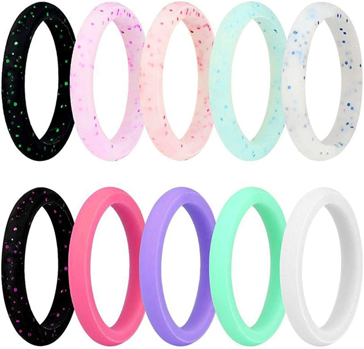 Kebaner 10 Pack / 7 Pack 2.7MM Wide Silicone Wedding Ring Premium Medical Grade Stackable Band for Women