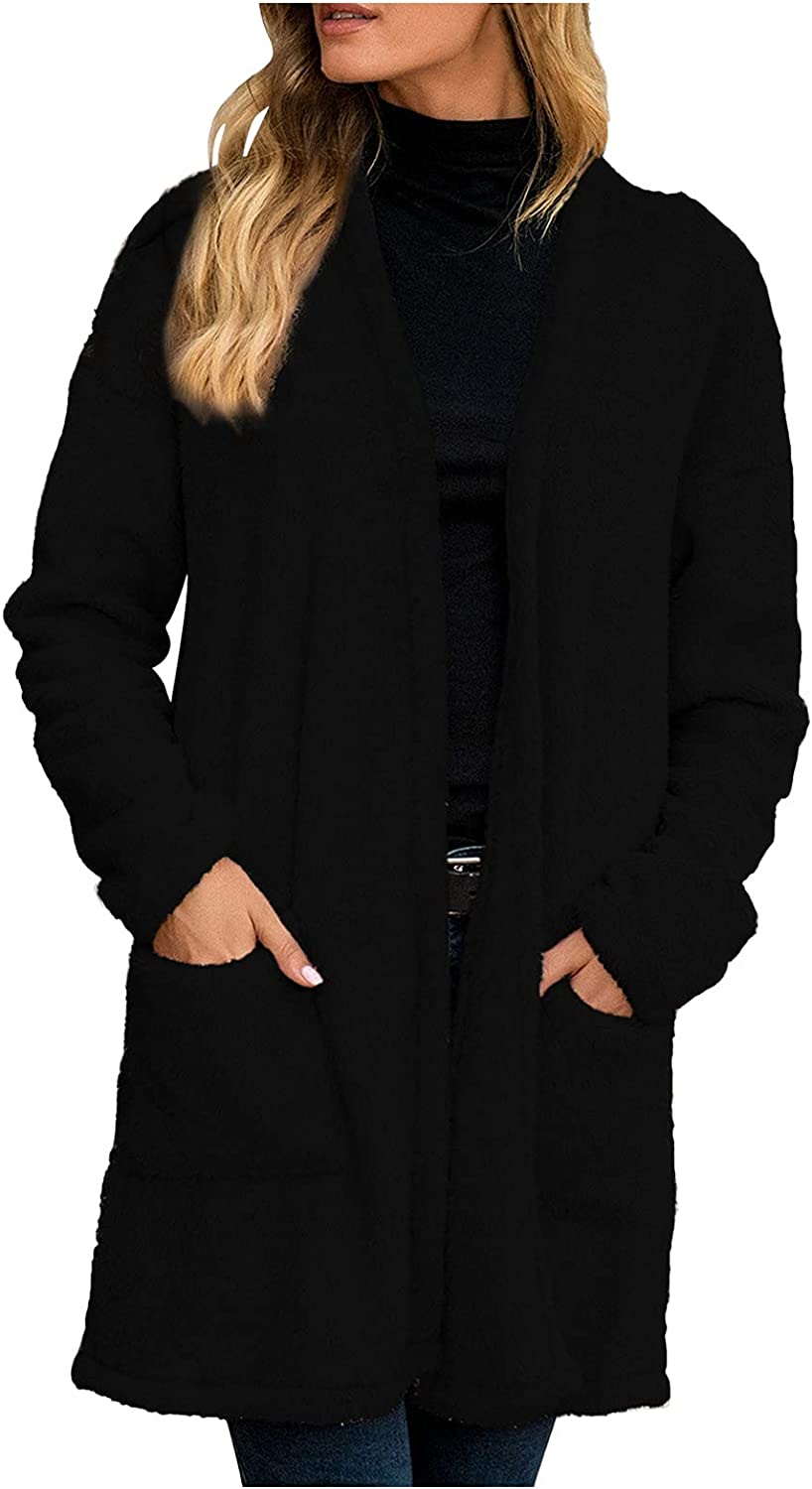 Women's Faux Wool Blend Trench Coats Fashion Long Sleeve V Neck Top Mid Long Plush Winter Warm Outwear with Pockets