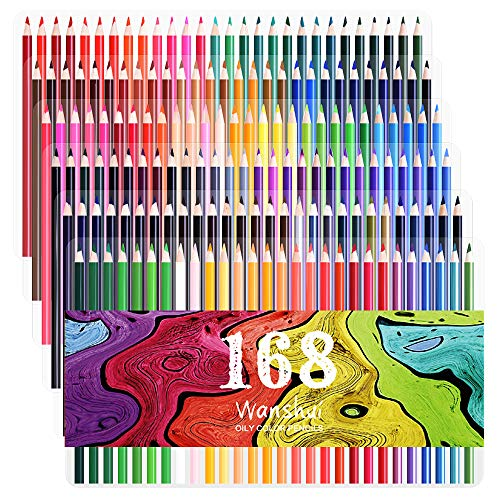 168 Colored Pencils - 168 Count Including 12 Metallic 8 Fluorescence Vibrant Colors No Duplicates Art Drawing Colored Pencils Set for Adult Coloring Books, Sketching, Painting