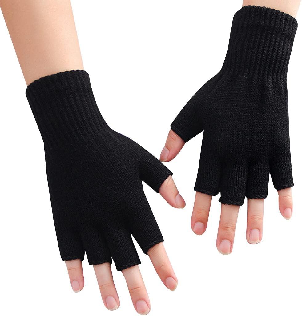 Lnrueg Fingerless Gloves Unisex Knitted Computer Gloves Half Finger Mittens Winter Gloves Nonslip Knit