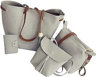 TOOGOO Women Handbags 4Pcs Set Pu Leather Tote Bag Shoulder Crossbody Bag Purse Purse With Tassels(Gray)