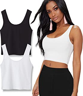 2 Pack Crop Tops for Women or Teens, Basic Solid Active Sleeveless Crop Tank Tops for Yoga, Street and Home
