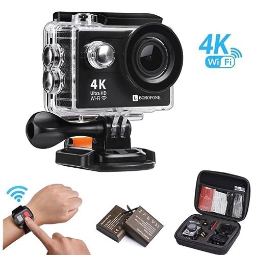 Cámara Acción Deportiva 4K WiFi Ultra HD Videocámara Impermeable 12MP Buceo Ángulo de Visión Amplio de 170 Grados Pantalla LCD de 2 Pulgadas 2.4G Control Remoto 2 Pilas Recargables Funda de Transporte y 20 Kits de Accesorios
