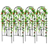 Amagabeli 16 Pack Garden Trellis for Climbing Plants 60' x 18' Rustproof Black Iron Potted Vines Vegetables Flowers Patio Metal Wire Lattices Grid Panels for Ivy Roses Cucumbers Clematis Supports GT02