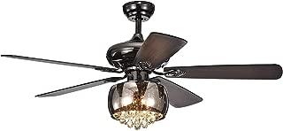 RainierLight 52 inch Modern Crystal Ceiling Fan Lamp 5 Reversible Wood Blades 3 Speed(Low/Medium/High) Remote Control Quiet Energy Saving/Decoration Fan
