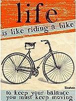 人生は自転車に乗るようなものです。 ブリキサインヴィンテージ鉄塗装メタルプレートパーソナリティノベルティ
