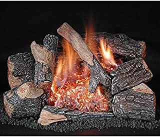 Rasmussen 24-Inch Bark Gas Log Set with Vent Free Propane Evening Embers C8 Double Burner - Variable Flame Remote