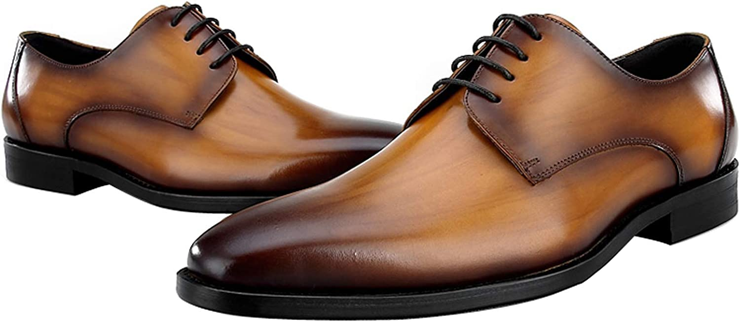 BONGZUO Hand-Knitted Leather Oxford shoes, England Business Dress Square Head Derby shoes Top Layer Cowhide European Version Outer Ear Type Men shoes, YMD86-5314