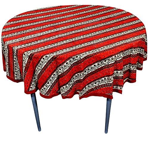 RoyaltyRoute Multicolore Stampata Indiani Rotondi tovaglie in Cotone Tessuto Decorazione da Tavolo Ideale per 4-6 coperti (175 Cm Circa di Diametro)