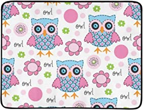 Colorful Owl Portable and Foldable Blanket Mat 60x78 Inch Handy Mat for Camping Picnic Beach Indoor Outdoor Travel