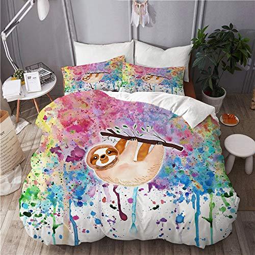 Minalo Duvet Cover Set,Sloth Watercolor,Decorative 3 Piece Bedding Set with 2 Pillow Shams Queen Size