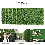 uyoyous 12 Pack Artificial Boxwood Panels Mat Greenery Fence Wall Decorative Hedge Plant for Outdoor Indoor Garden Fence Backyard - 24 x16 Inch(L x W)