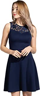 Women's A-Line Pleated Sleeveless Little Cocktail Party Dress with Floral Lace