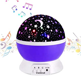 YHMAE Music Night Light Projector Lamp Baby Star Projector 360 Degree Rotating 9 Multicolor Changing with Rechargeable Battery,12 Soft Light Music for Relax and Sleep (Purple)