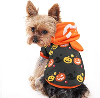 Idepet Halloween Pumpkin Dog Costume, Lovely Pet Puppy Sweatshirts Hoodie Funny Clothes for Dogs and Cats