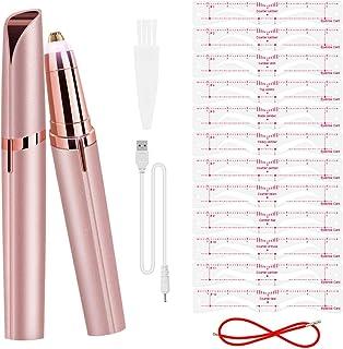 Depiladora de Cejas Mujer Eléctrica Ceja Recortador Sin Dolor USB Recargable con LED para Facial Vello Nariz/Orejas Eyebr...