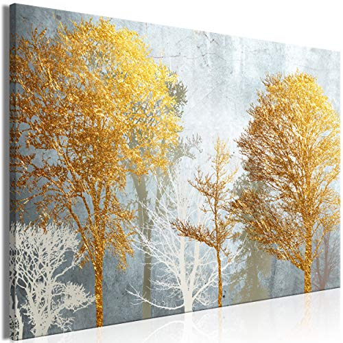 decomonkey Bilder Baum 120x80 cm 1 Teilig Leinwandbilder Bild auf Leinwand Vlies Wandbild Kunstdruck Wanddeko Wand Wohnzimmer Wanddekoration Deko Abstrakt Gold
