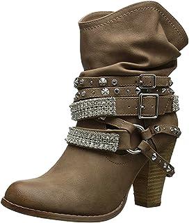 42f1578818e149 Minetom Bottes De Femme Chaussures Hiver Cheville Boots Chaudes Bottines  Rétro Mignons Mode Rivet Bottine Talon