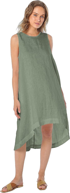 Amazhiyu Women's Max 53% OFF 100% Linen High with Pocket Dress Midi Great interest Low