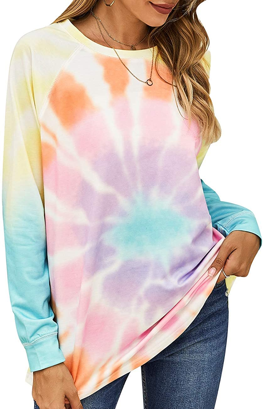 Kayamiya Womens Tie Dye Long Sleeve Sweatshirt Casual Crewneck Loose Pullover Tops Shirts