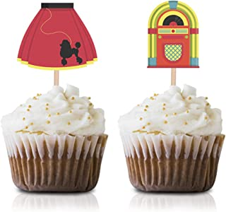50s Themed Cupcake Topper Picks, 24-Pack 1950s Rock N Roll Party Cupcake Topper Decorations