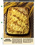McCall's Cooking School Recipe Card: Pasta, Rice 7 - Greek Pastitsio (Replacement McCall's Recipage...