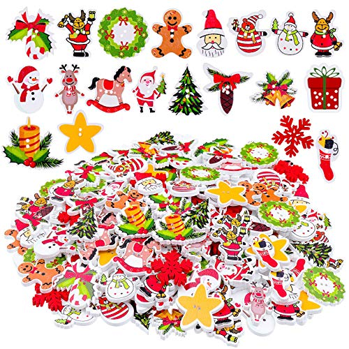 240 Pieces Christmas Wooden Buttons Colorful Sewing Buttons Assorted Christmas Crafts Buttons Christmas Stocking Decorative Buttons for DIY Sewing Handmade Projects, Mixed Sizes and Styles