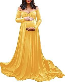 DISON Donna maternità Elegante Vestiti Fotografia Lungo Senza Spalline da Sposa per Servizio Fotografico Spiaggia Maxi Abiti