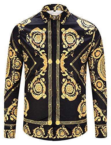 PIZOFF heren lange mouwen gouden overhemden met baroque-motieven