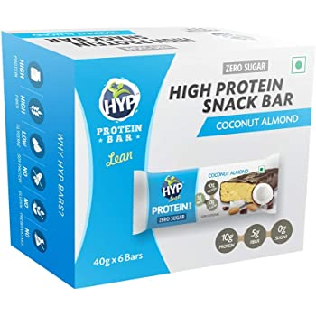 Hyp Lean Sugarfree Protein Bar, Coconut Almond (Pack of 6)