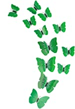 uxcell 12pcs 3D Butterfly Stickers Decal DIY Pin Type Removable Home Decor Curtain Dress Decoration with Double Wing, Green