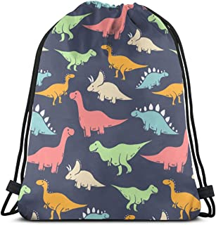 Gray Blue T Rex Stegosaurus Dinosaurs 3D Print Drawstring Backpack Rucksack Shoulder Bags Gym Bag For Adult 16.9