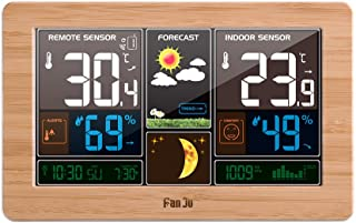 Goolsky FanJu Wireless Weather Station Weather Forecaster Station Large Screen Display Date Time Temperature Humidity Moon...