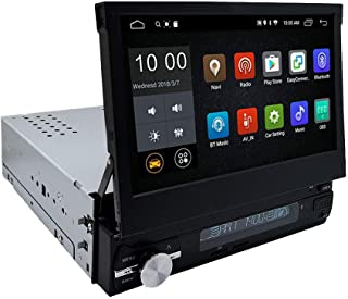 YODY Android 9.0 Single Din Car Stereo 7 Inch Flip Out Touch Screen Support Bluetooth WiFi GPS Navigation Mirror Link AM/FM Car Radio with Backup Camera and Microphone (Android 9.0-2G)