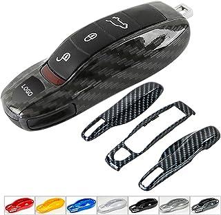Panamera//Cayenne//Macan nero 3 pezzi in fibra di carbonio colore Fob catena chiave a distanza Shell per Porsche//Boxster//Cayman 911