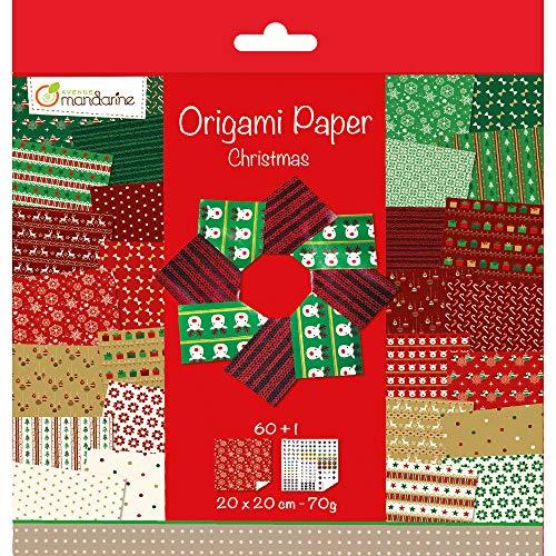 Avenue Mandarine 52508O Origami color Papier (quadratisch, 20 x 20 cm, mit Faltanleitung, 60 verschiedenen Blätter und 1 Blatt mit Augenset, Weihnachten)