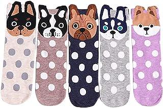 SilenceID, 5 pares de calcetines de dibujos animados para mujeres, gatos, perros, animales, polacos, calcetines suaves, cómodos, cortos