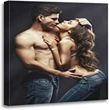 Semtomn Canvas Wall Art Print Sexy Beautiful Young Smiling Couple in Love Embracing Indoor Artwork for Home Decor 20 x 20 Inches