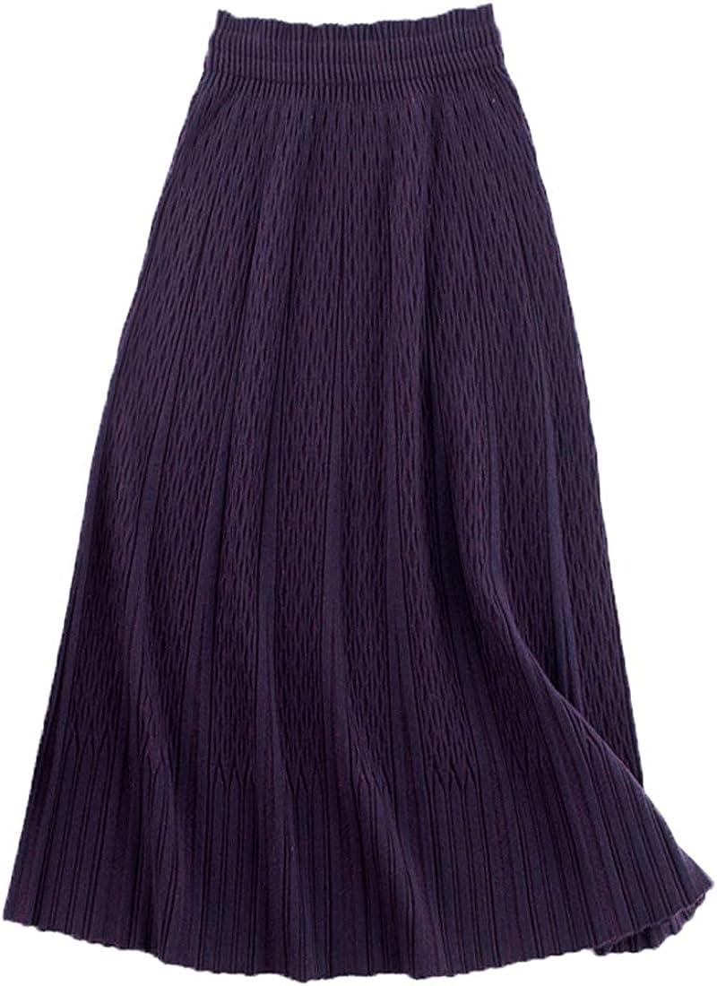utcoco Women's Casual Fit Flare Elastic High Waist Maxi Midi Long Knitted Skirt