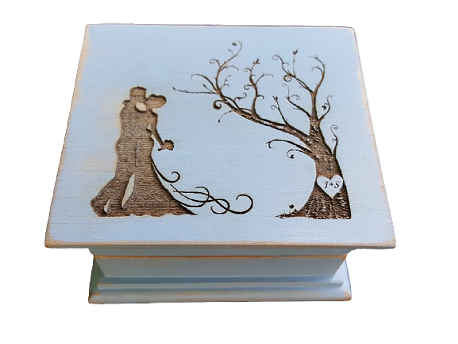 store Wedding gift Custom engraved wooden music box a on couple with Sales results No. 1