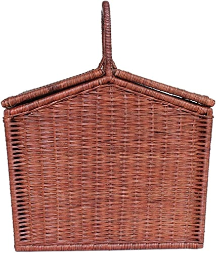 FFD Panier à pique-nique en saule de collection pour quatre personnes avec couverture de pique-nique assortie (Couleur   marron)
