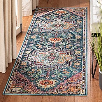Safavieh Crystal Collection CRS501T Boho Chic Oriental Medallion Distressed Non-Shedding Stain Resistant Living Room Bedroom Area Rug 2 2  x 5  Teal / Rose