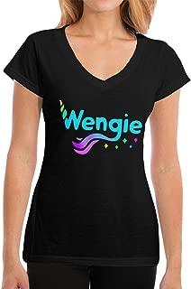 Lakssn Women's Summer Wengie-YouTube Tee T Shirt Short Sleeve Tshirt for Women T-Shirt V Neck Clothes Black