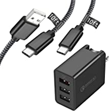 KEAIO USB C Cable 10FT with Adaptive Fast Charger, Quick Charge 3.0 Wall Charger +Braided Type C Cable Fast Charging 2-Pack Compatible with Samsung Galaxy S9+/8+/10 Plus Note 8/9/10, LG Q9/8/7, Moto