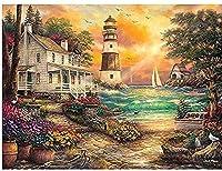 クロスステッチ キット海の見える灯台小屋の風景40x50cm DIYクロスステッチキット刺繍初心者向けホームデコレーション(11CTプレプリントキャンバス刺繍キット 手作り