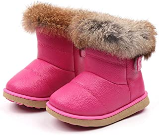 ❤️ Mealeaf ❤️ Toddler Kids Baby Boys Girls Snow Shoes Boots Leather Winter Booties Warm Walking Soft Slippers 0-6T