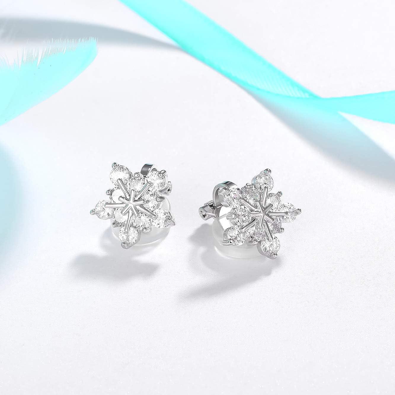 SELOVO Snowflake Flower Zircon Cubic Zirconia Clip on Stud Earrings for Women Girls