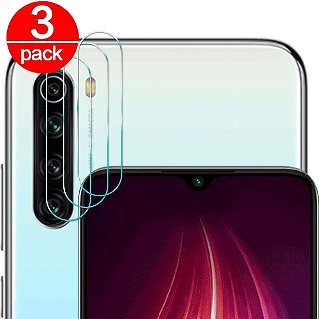 [3 Pack] Cristal Templado para Lente Cámara de Xiaomi Redmi Note 8/ Note 8T Ultra Fino Protector 2.5D 9H de Dureza Cámara Trasera Lente Película de Pantalla