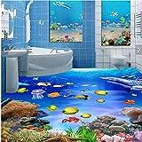Große benutzerdefinierte 3D selbstklebende wasserdichte Bodenaufkleber Meer Badezimmer Badezimmer 3D Stereo Bodenfolie Home Decoration
